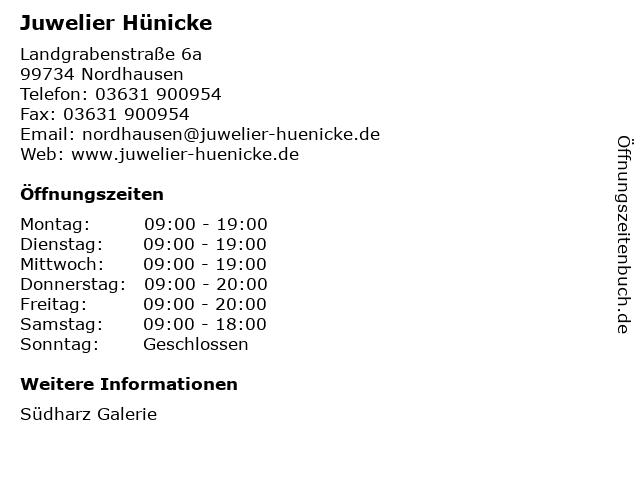 Juwelier Hünicke in Nordhausen: Adresse und Öffnungszeiten