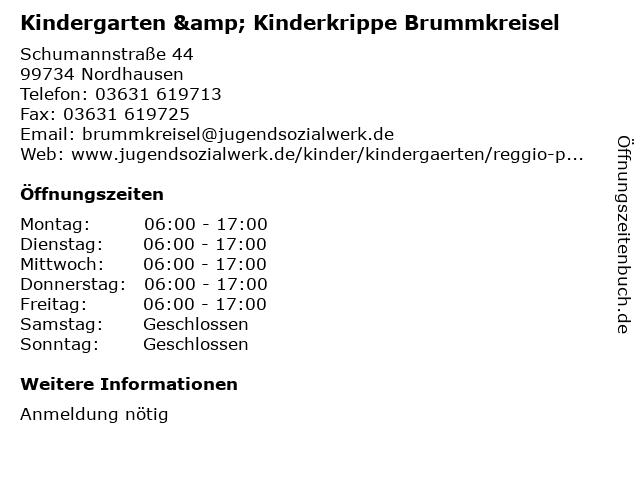 Kindergarten & Kinderkrippe Brummkreisel in Nordhausen: Adresse und Öffnungszeiten