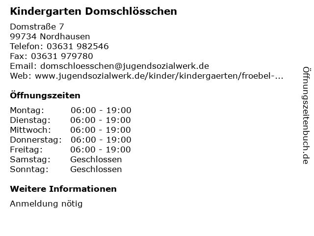 Kindergarten Domschlösschen in Nordhausen: Adresse und Öffnungszeiten