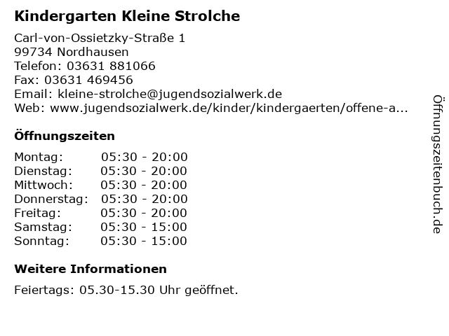 Kindergarten Kleine Strolche in Nordhausen: Adresse und Öffnungszeiten