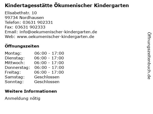 Kindertagesstätte Ökumenischer Kindergarten in Nordhausen: Adresse und Öffnungszeiten