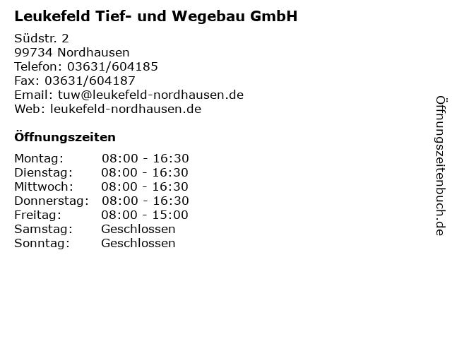 Leukefeld Tief- und Wegebau GmbH in Nordhausen: Adresse und Öffnungszeiten
