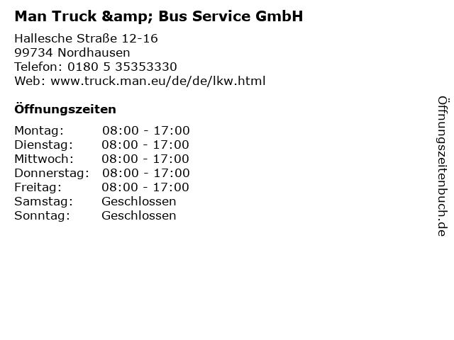 Man Truck & Bus Service GmbH in Nordhausen: Adresse und Öffnungszeiten