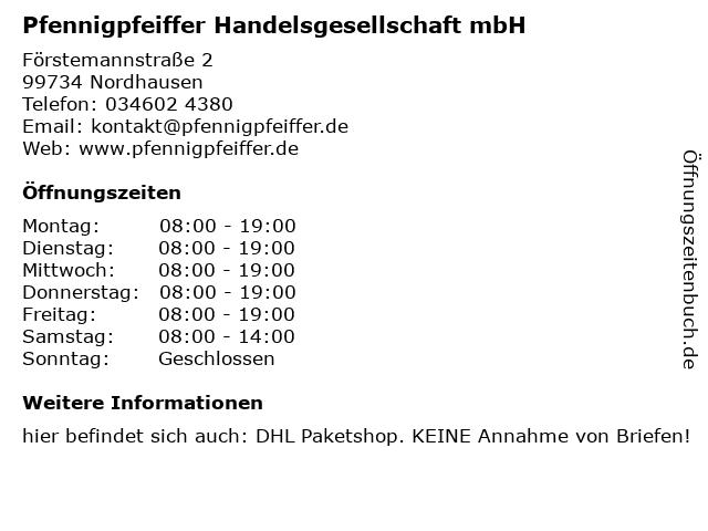 Pfennigpfeiffer Handelsgesellschaft mbH in Nordhausen: Adresse und Öffnungszeiten