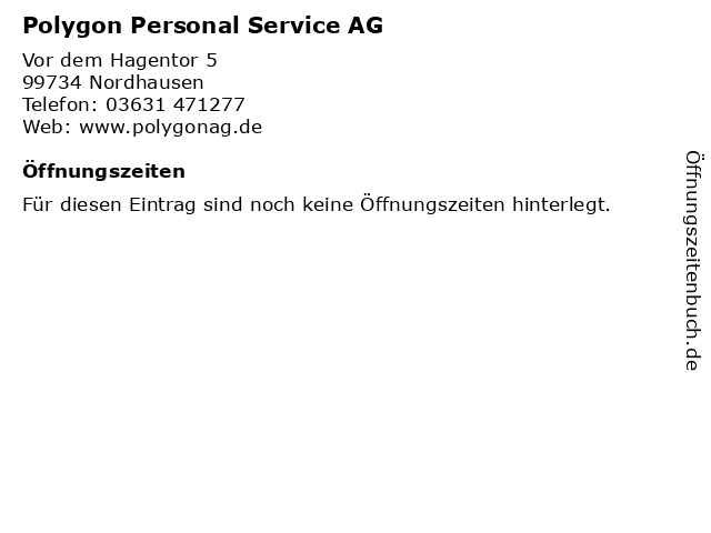 Polygon Personal Service AG in Nordhausen: Adresse und Öffnungszeiten