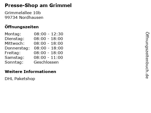 Presse-Shop am Grimmel in Nordhausen: Adresse und Öffnungszeiten