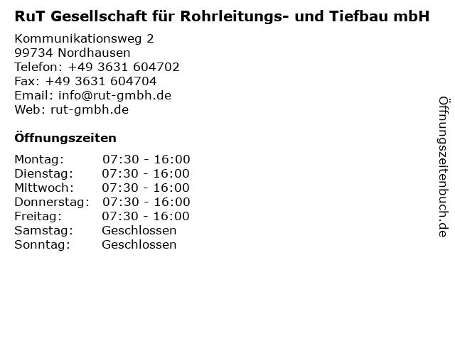RuT Gesellschaft für Rohrleitungs- und Tiefbau mbH in Nordhausen: Adresse und Öffnungszeiten