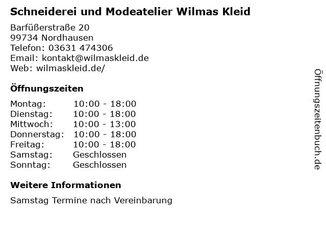 Schneiderei und Modeatelier Wilmas Kleid in Nordhausen: Adresse und Öffnungszeiten