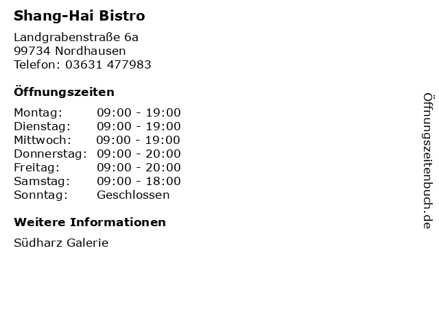 Shang-Hai Bistro in Nordhausen: Adresse und Öffnungszeiten