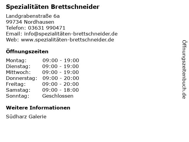 Spezialitäten Brettschneider in Nordhausen: Adresse und Öffnungszeiten