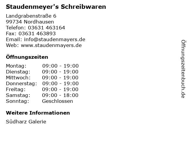Staudenmeyer's Schreibwaren in Nordhausen: Adresse und Öffnungszeiten