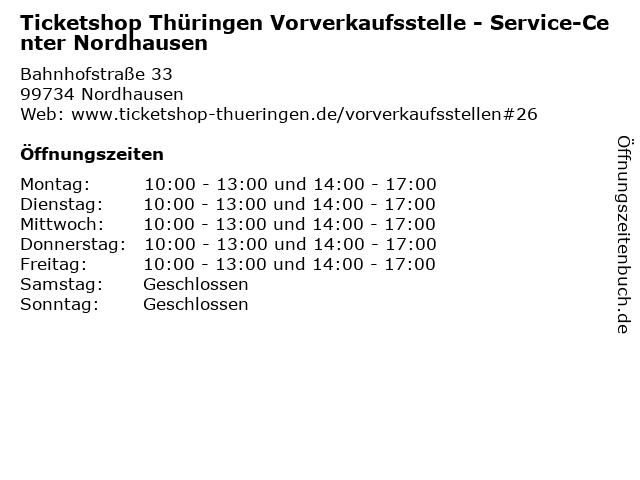 Ticketshop Thüringen Vorverkaufsstelle - Service-Center Nordhausen in Nordhausen: Adresse und Öffnungszeiten