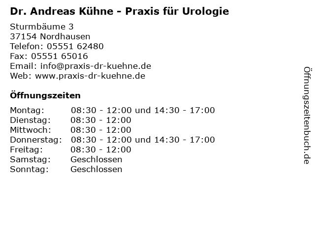 Urologe Kühne Andreas Dr.med. in Nordhausen: Adresse und Öffnungszeiten
