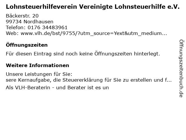 Vereinigte Lohnsteuerhilfe e.V. Beratungsstelle Ulrike Törpe in Nordhausen: Adresse und Öffnungszeiten