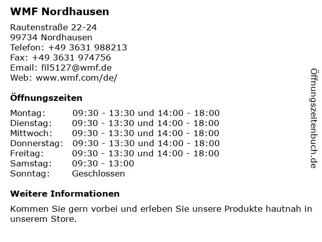 WMF Nordhausen - Rautenstraße in Nordhausen: Adresse und Öffnungszeiten