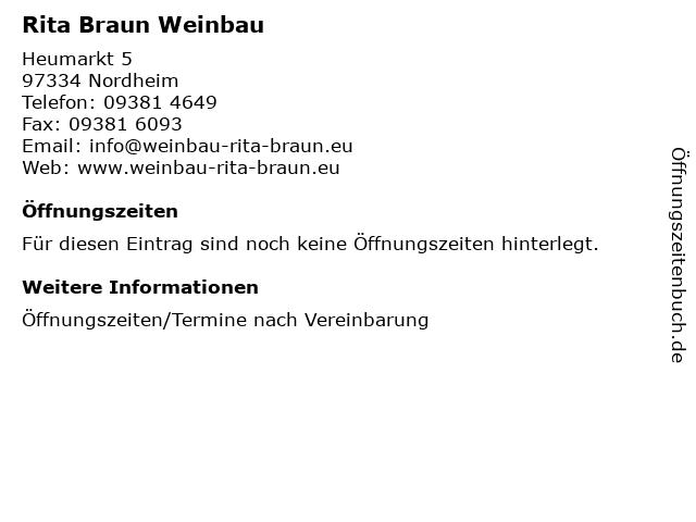Rita Braun Weinbau in Nordheim: Adresse und Öffnungszeiten