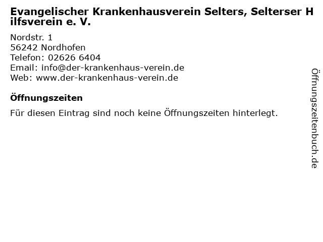 Evangelischer Krankenhausverein Selters, Selterser Hilfsverein e. V. in Nordhofen: Adresse und Öffnungszeiten