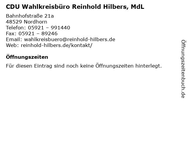 CDU Wahlkreisbüro Reinhold Hilbers, MdL in Nordhorn: Adresse und Öffnungszeiten