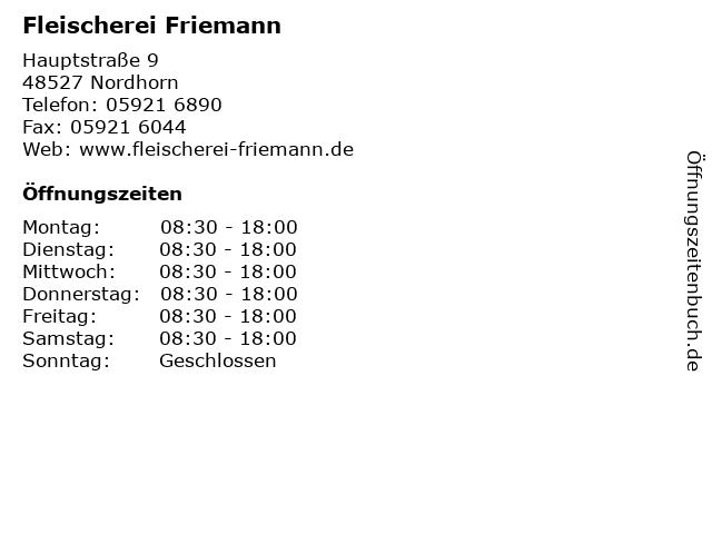 Fleischerei Friemann in Nordhorn: Adresse und Öffnungszeiten