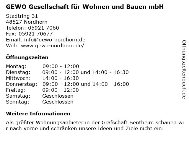 GEWO - Gesellschaft für Wohnen u. Bauen mbH in Nordhorn: Adresse und Öffnungszeiten