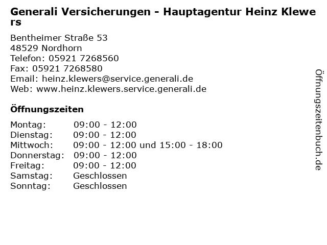 ᐅ Offnungszeiten Generali Versicherungen Hauptagentur Heinz