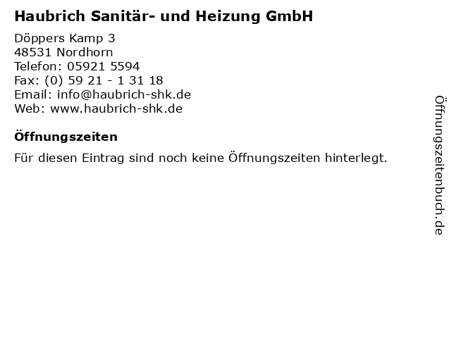 Haubrich Sanitär- und Heizung GmbH in Nordhorn: Adresse und Öffnungszeiten