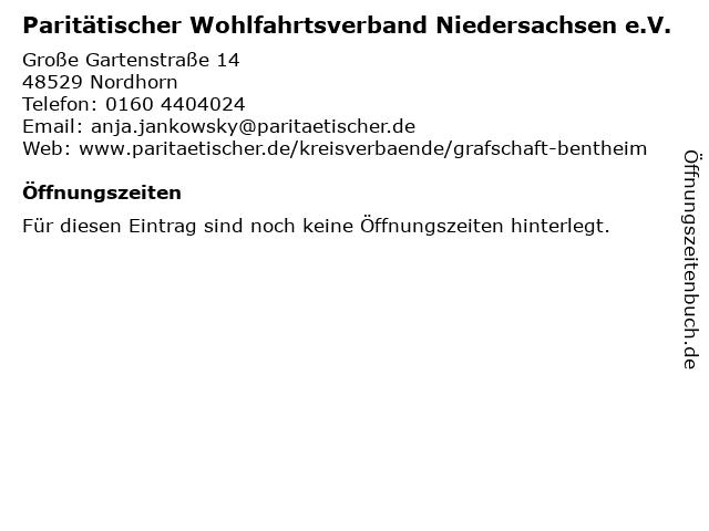 Paritätischer Wohlfahrtsverband Niedersachsen e.V. in Nordhorn: Adresse und Öffnungszeiten