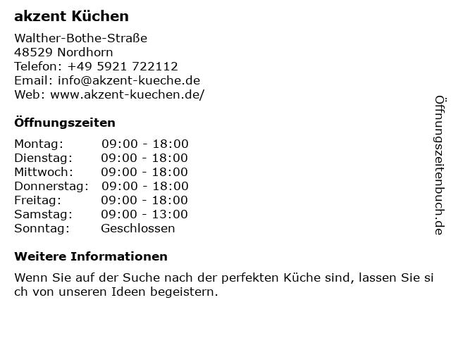 ᐅ Offnungszeiten Akzent Kuchen Gmbh Walther Bothe Strasse 10 In