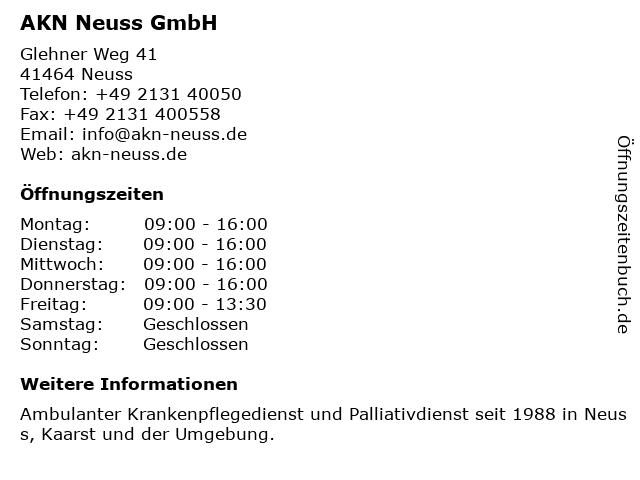 AKN Neuss GmbH in Nordrhein Westfalen: Adresse und Öffnungszeiten