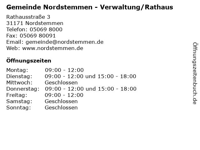 Gemeinde Nordstemmen - Verwaltung/Rathaus in Nordstemmen: Adresse und Öffnungszeiten