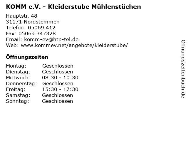 KOMM e.V. - Kleiderstube Mühlenstüchen in Nordstemmen: Adresse und Öffnungszeiten