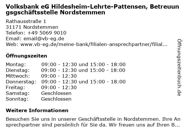 Volksbank eG Hildesheim-Lehrte-Pattensen, Betreuungsgschäftsstelle Nordstemmen in Nordstemmen: Adresse und Öffnungszeiten