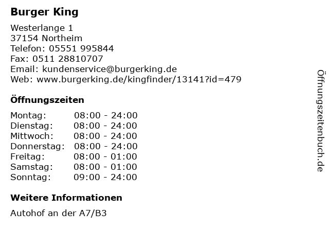 Burger King in Northeim: Adresse und Öffnungszeiten