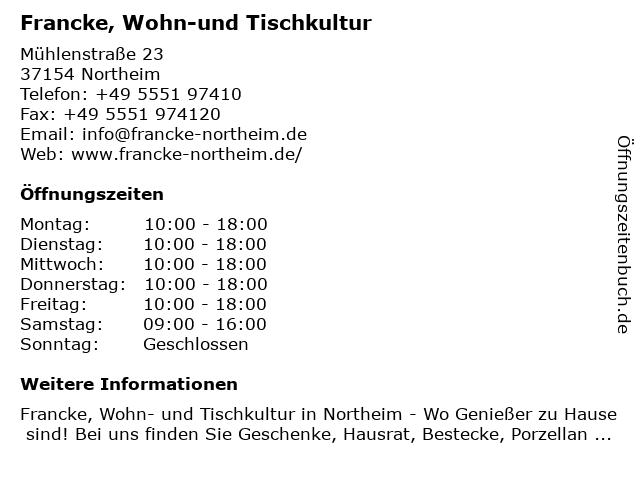 Francke, Wohn-und Tischkultur in Northeim: Adresse und Öffnungszeiten
