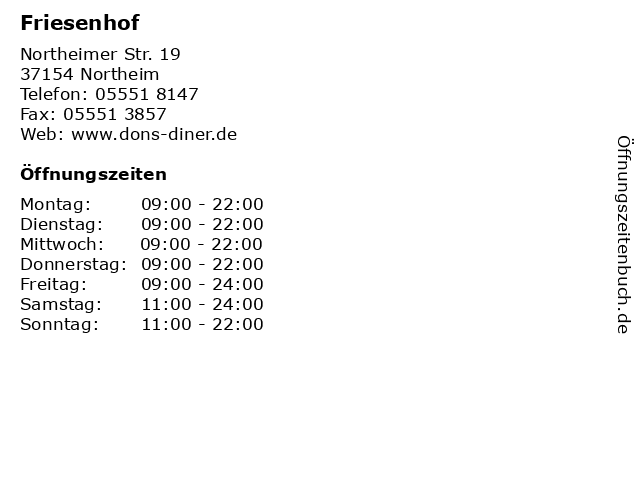 Friesenhof in Northeim: Adresse und Öffnungszeiten