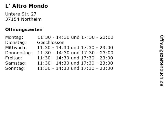 L' Altro Mondo in Northeim: Adresse und Öffnungszeiten