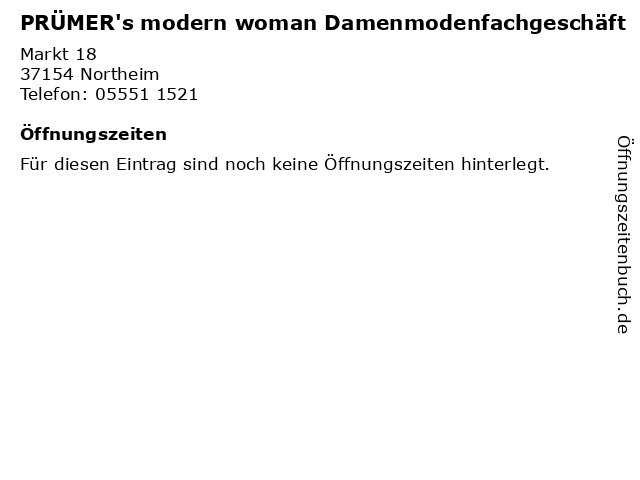 PRÜMER's modern woman Damenmodenfachgeschäft in Northeim: Adresse und Öffnungszeiten