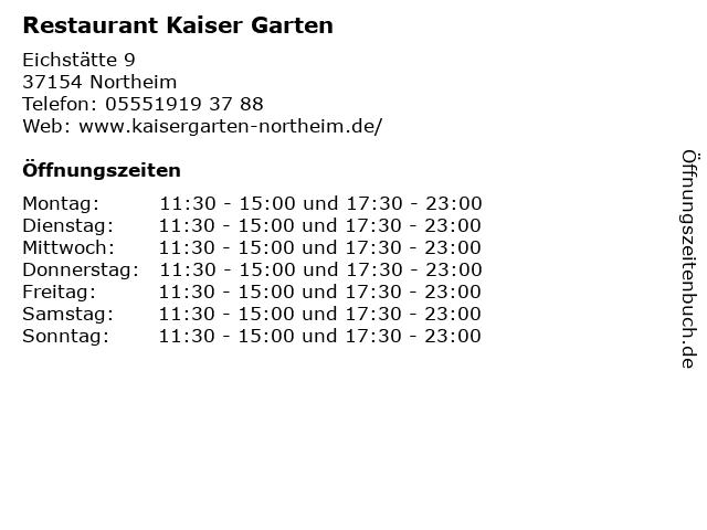 Restaurant Kaiser Garten in Northeim: Adresse und Öffnungszeiten