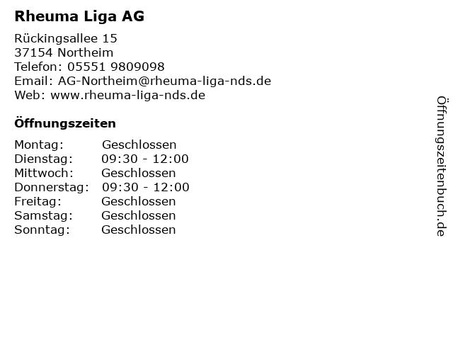 Rheuma Liga AG in Northeim: Adresse und Öffnungszeiten