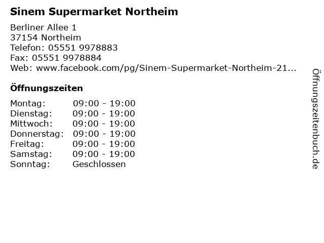 ᐅ Offnungszeiten Sinem Supermarket Northeim Berliner Allee 1 In