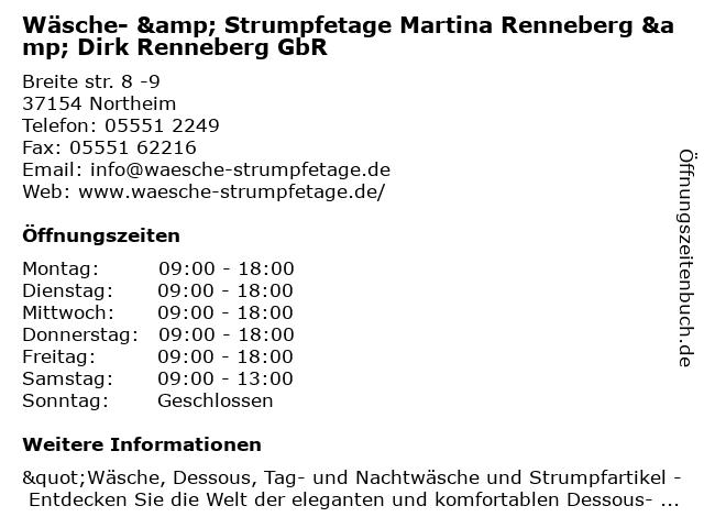 Wäsche & Strumpfetage GbR in Northeim: Adresse und Öffnungszeiten