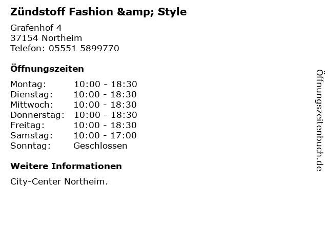 Zündstoff Fashion & Style in Northeim: Adresse und Öffnungszeiten