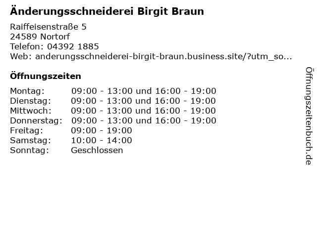 Änderungsschneiderei Birgit Braun in Nortorf: Adresse und Öffnungszeiten