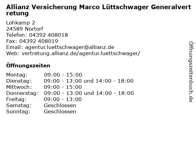 Allianz Versicherungensagentur - Marco Lüttschwager Generalvertretung in Nortorf: Adresse und Öffnungszeiten