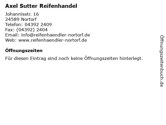 Axel Sutter Reifenhandel in Nortorf: Adresse und Öffnungszeiten