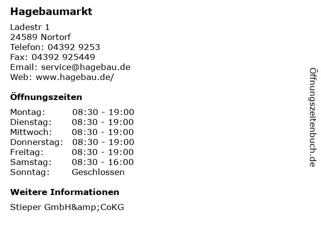 Hagebaumarkt in Nortorf: Adresse und Öffnungszeiten