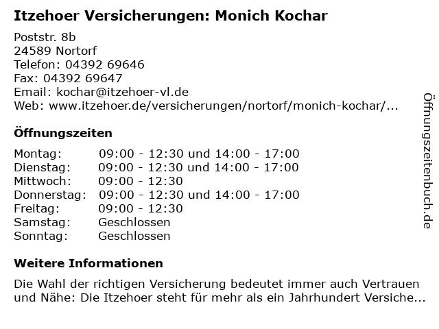 Itzehoer Versicherungen: Monich Kochar in Nortorf: Adresse und Öffnungszeiten