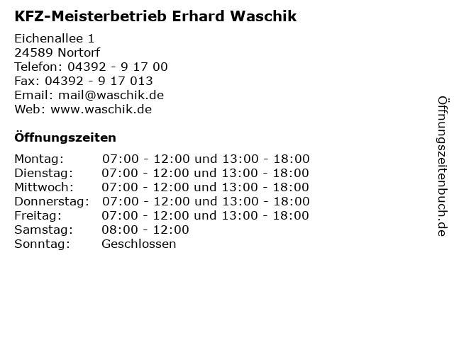 KFZ-Meisterbetrieb Erhard Waschik in Nortorf: Adresse und Öffnungszeiten