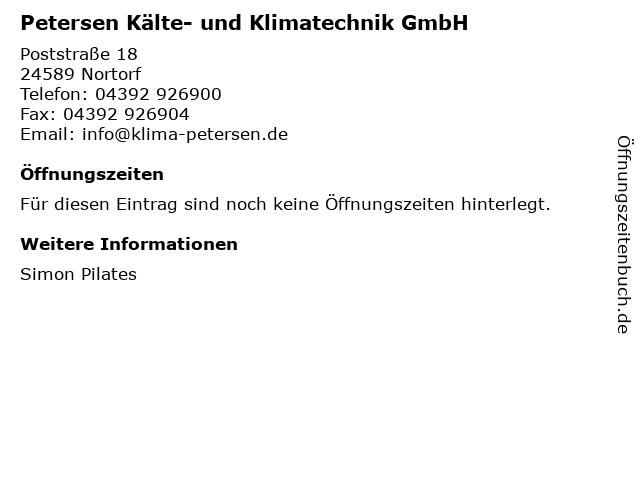 Petersen Kälte- und Klimatechnik GmbH in Nortorf: Adresse und Öffnungszeiten