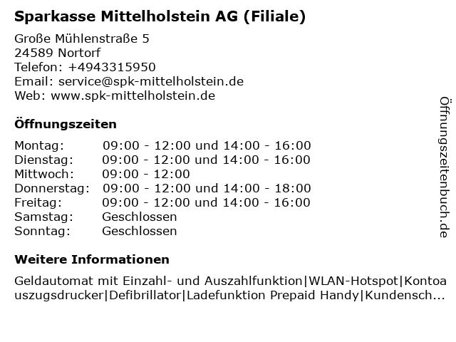 Sparkasse Mittelholstein AG - Filiale Nortorf in Nortorf: Adresse und Öffnungszeiten